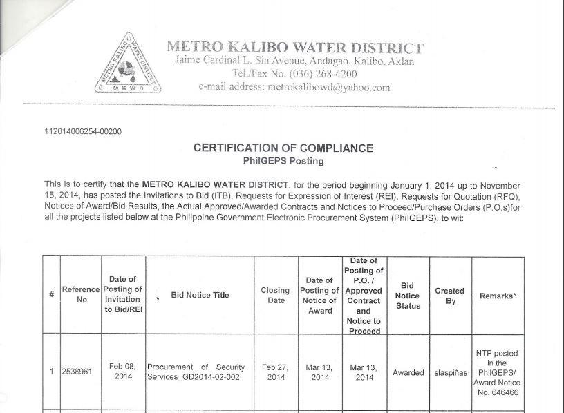 certificate of compliance - bids & awards