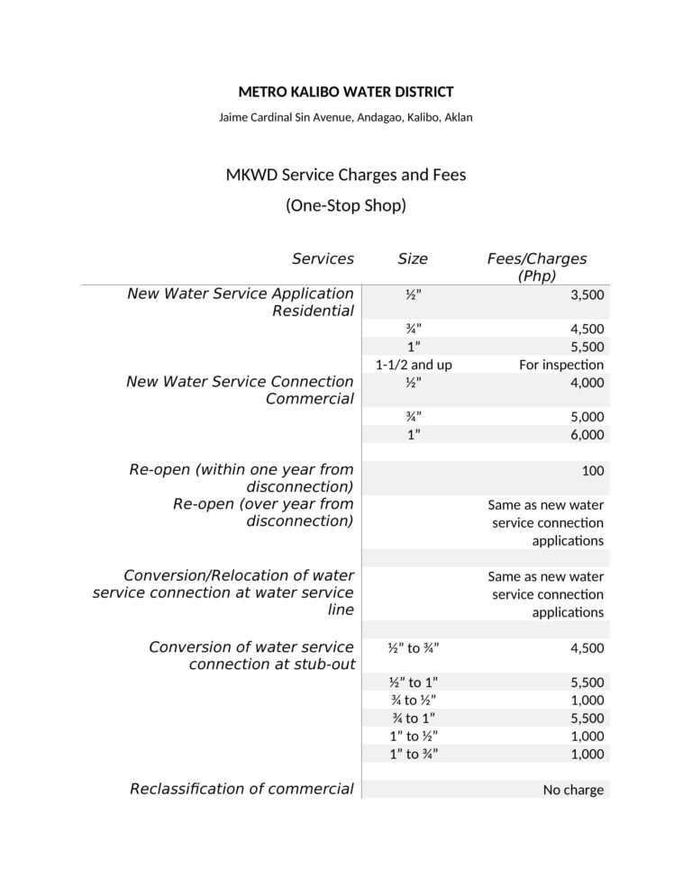 Publication of Fixed rates in the WSC services-1