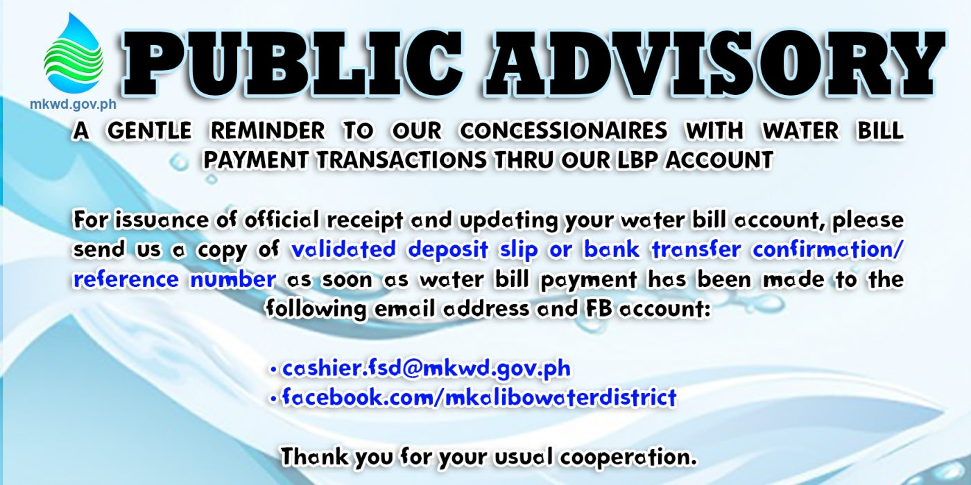 public advisory landbank - metro kalibo water district