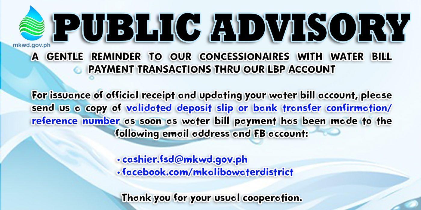 public advisory landbank - metro kalibo water district