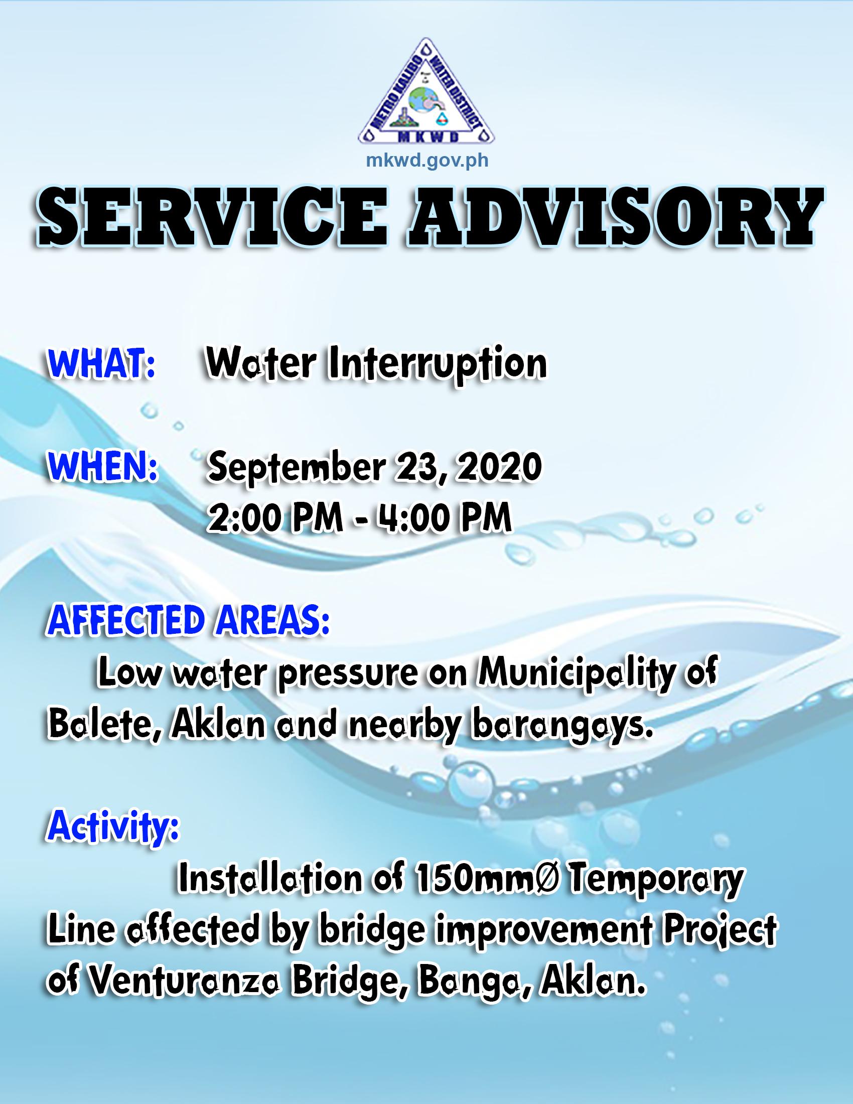 Water Interruption: September 23, 2020